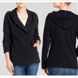 James Perse Sz 4 Asymmetrical Black Hoodie Jacket